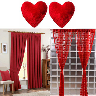 Ech oly combo of 2 heart pillows , 2 heart window curtains and 2 plain window curtains