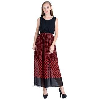 Raabta Black with Red Box Printed Maonika Long Maxi Dress