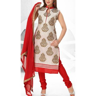 Fancy long chudi (red and white)
