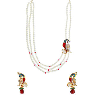14Fashions Alloy Multicolor Peacock Pendant Set - 1200131