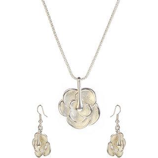 Urthn Alloy Silver Contemporary Pendant Set - 1202506