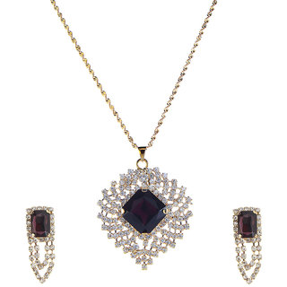 14Fashions Purple Festive beautiful Pendant Set -1202826
