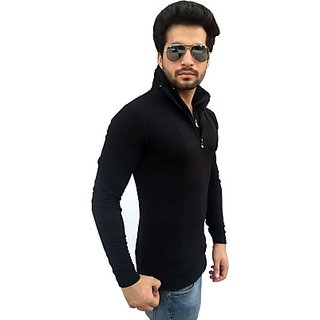 Tees Collection Solid Mens Flap Collar Neck Black T-Shirt