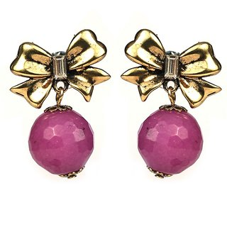 JAZZ CZ Pink Colour Butterfly Design Girls and Women Earring (JER266)