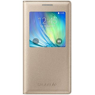 Original Samsung Flip  Cover For Samsung Galaxy A5 (Golden)