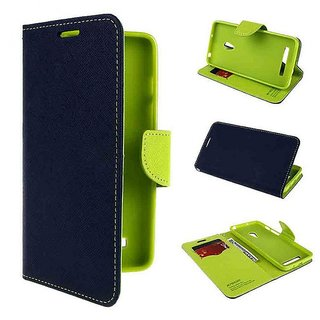 Fancy Diary Flip Wallet Case Cover for Samsung Galaxy A8 (Blue)