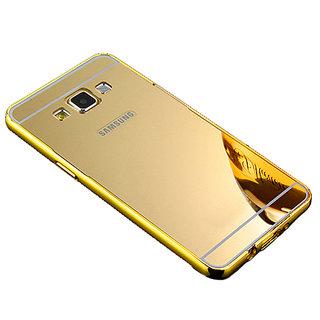 Mirror Back Cover Case Metal Frame Samsung J7 Gold