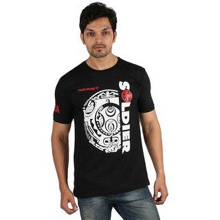 77d632b32120de Buy Rock Soldier Push the Pace Black Cotton Half Sleeves T Shirt ...