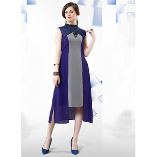 Vastrani Blue and Grey Georgette Plain Kurti 61K6911-44XXL