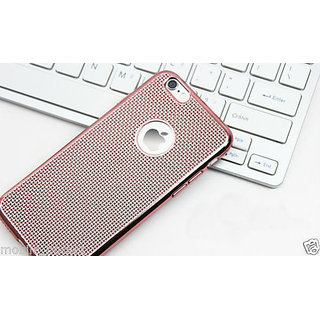 Electroplate Soft Silicone Grid Design Back Case Cover For iPhone 6S (Rose Gold)