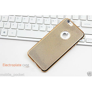 Electroplate Soft Silicone Grid Design Back Case Cover For iPhone 6S (Golden)