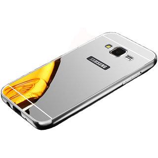Mirror Back Cover Case Metal Frame Samsung J7 Silver