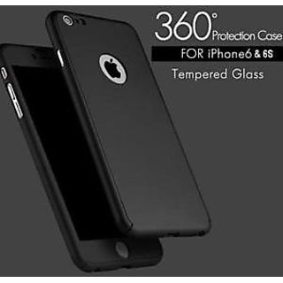 IPAKY Black 360 Degree Slim Case with Tempered Glass for Apple iPhone 6S/6 (4.7)