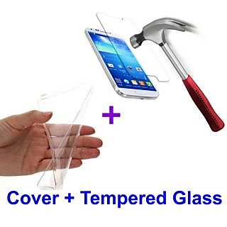Samsung Galaxy On5 Transparent Back Cover + 2Tempered Glass free combo pack of 3