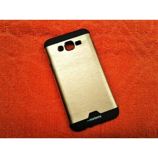 Samsung J7 Hard Plastic Motomo Metal Back Cover Case- Gold