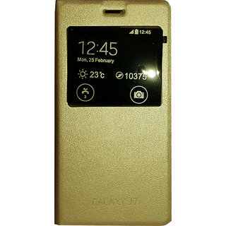 Samsung Galaxy J7 Flip Cover GOLD + Screen Guard Free worth Rs. 150