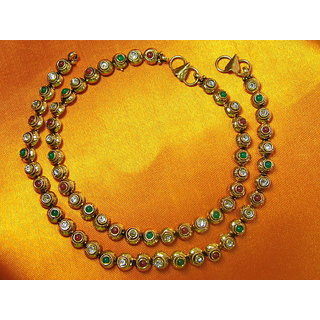 Circular Design Anklet With Multi-colored Stones