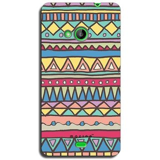 Mozine Yellow Blue Triangle Pattern printed mobile back cover for Nokia lumia...