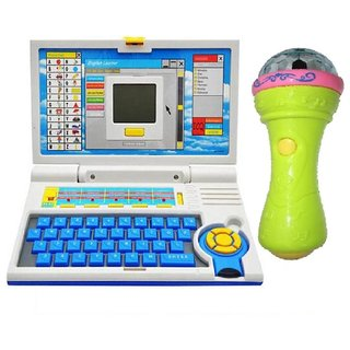 Kids English Learner Computer toy  with 3D Lights Handheld Mike Musical Toy