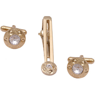 sushito Impressive Sparking Stone Golden Cufflink With Tie Pin JSMFHMA0772