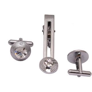 sushito Jaipuri Round Silver Cufflink With Tie Pin JSMFHMA0773