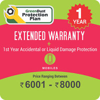 GreenDust Protection Plan for Mobiles (Rs. 6001-8000), 1 year-Delivery by Email