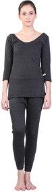 Vimal-Jonney Black Wool Blend Plain Thermal Set For Women