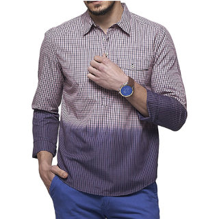 KADAR STORE Mens Blue check Poly Cotton Kurta