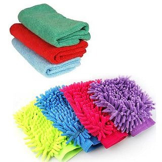 Combo of 3 Microfiber Gloves and 3 Microfiber Clothes Used in kitchen and Car (Cleaning  Drying)
