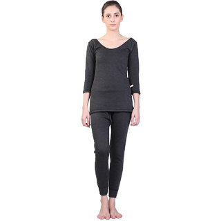 Vimal-Jonney Black Wool Blend Plain Thermal Set For Women