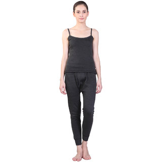 Vimal Black Wool Blend Plain Thermal Set For Women