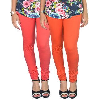 Vimal Red,Orange Cotton Lycra Solid Legging (Set of 2)