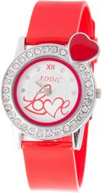 Addic Love Crystal Studded White Dial With Red Strap And Red Heart Womens Watch