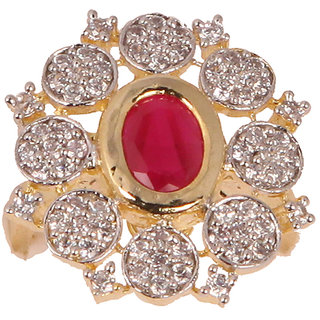Designer Red Stone Free Size Finger Ring(SF3019)