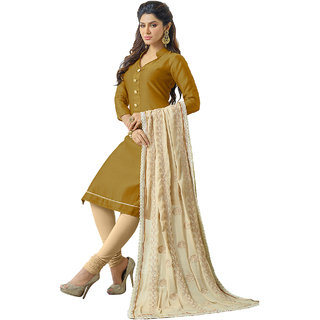 Shopeezo Beige Colored Chanderi Plain Dress Material (Unstitched)