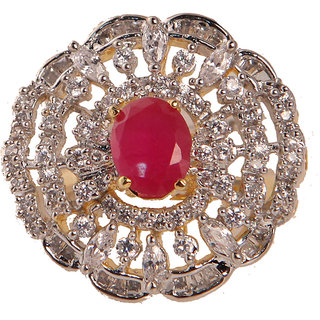 Stylish Ad Cocktail Ring With Red Stone(SF3042)