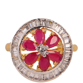 Designer Round Ad With Red Stone Finger Ring(SF3052)