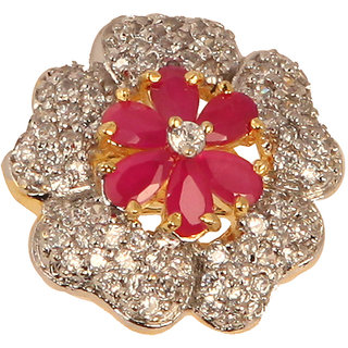 Flower Shaped Designer Ring With Red Stone(SF3020)