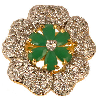 Flower Shaped Designer Ring With Green Stone(SF3021)