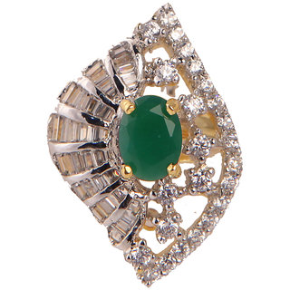 Stylish Ad Ring With Green Stone(SF3030)