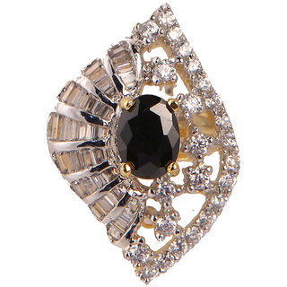 Stylish Ad Ring With Balck Stone(SF3031)