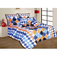 Salona Bichona Multi Colored Double Bedsheet With Two Pillow Covers (Option 2)