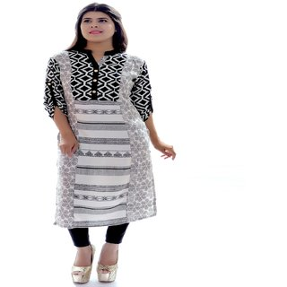 FYONA Black Ryon Ethenic Straight  Casual wear Collor Neck Printed kurti for women