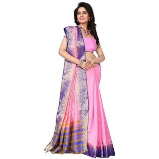 The Ethnic Chic Light Pink Colored Raw Silk Saree