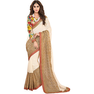 The Ethnic Chic Beige Colored Apricot Georgette Saree