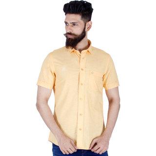 Integriti Orange Button Down Half Sleeve Mens Casual Shirt
