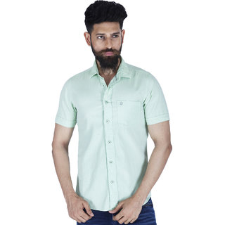 Integriti Light Green Button Down Half Sleeve Mens Casual Shirt