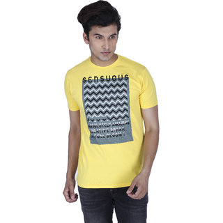 3c5d0e74e64 Buy Integriti Yellow Round Neck Half Sleeve Mens T-Shirt Online ...