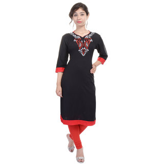 Yuvati Casual Black Cotton Kurti