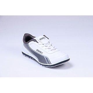Galaxy Men's White & Grey Stylish Sport's Shoes